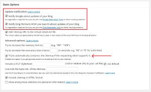 Basic Google XML Sitemaps Options