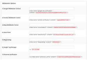 Webmaster Options