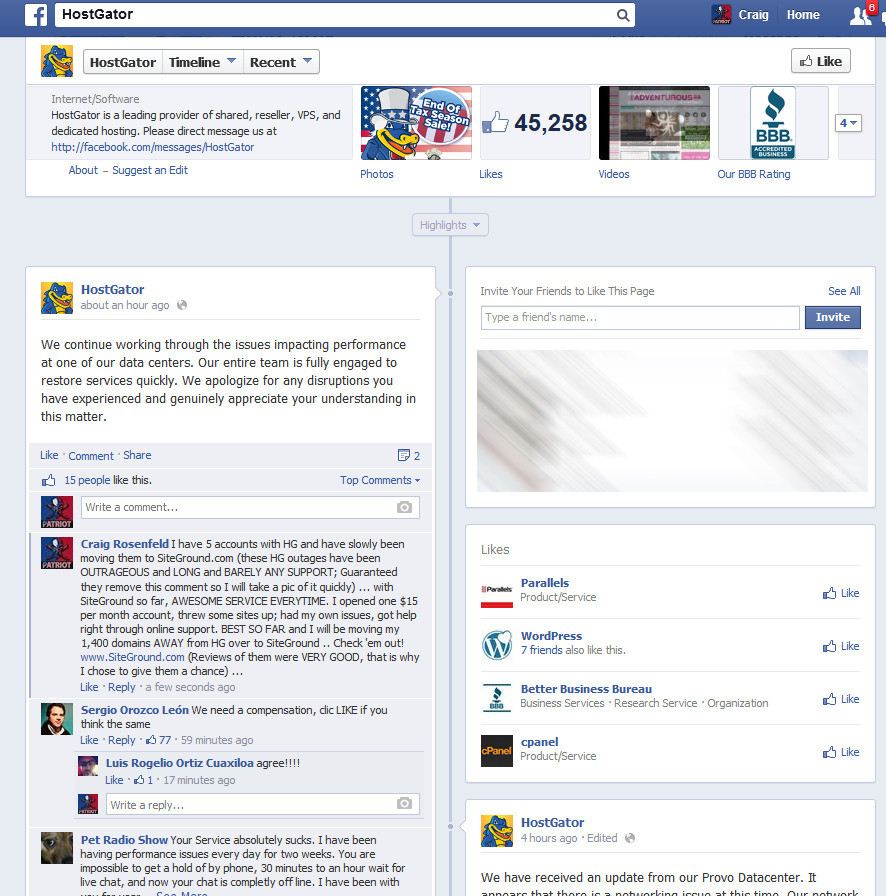 Hostgator admitting they have issues on Facebook