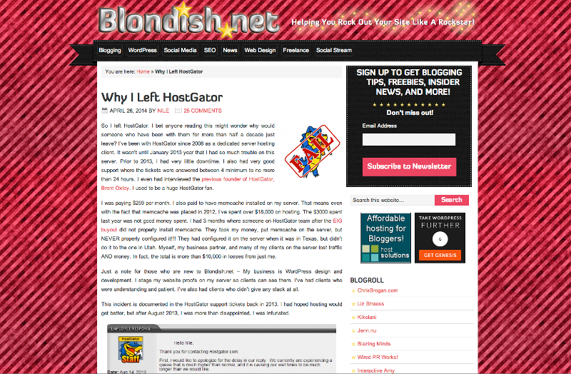 Blondish.net Left HostGator