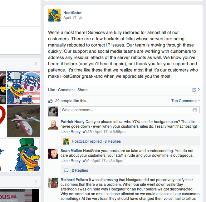 HostGator Facebook Wall