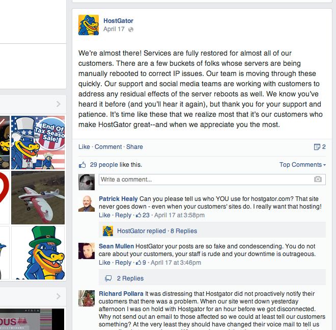 HostGator Facebook Wall