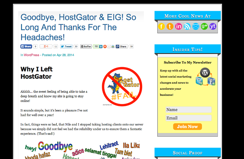 Kim Left Hostgator Too!