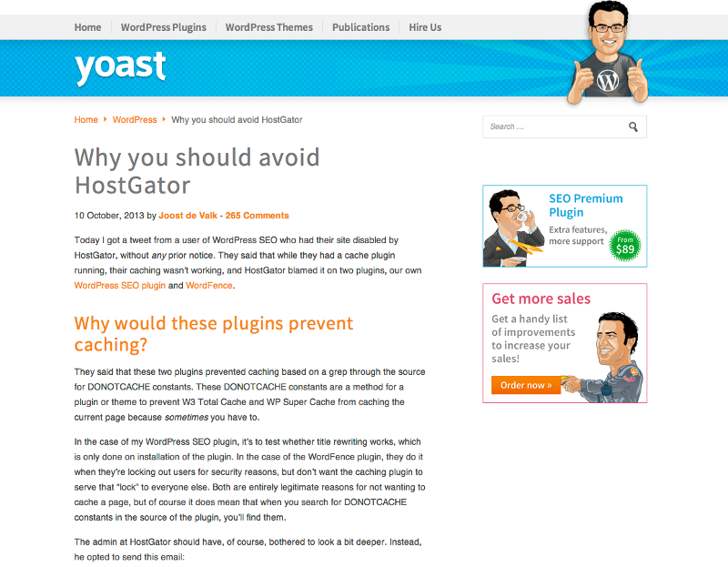hostgator lies about uptime  hostgator and yoast