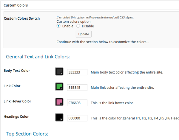 udesign custom colors settings