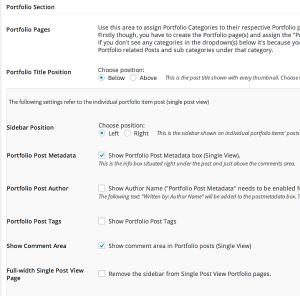 udesign portfolio settings