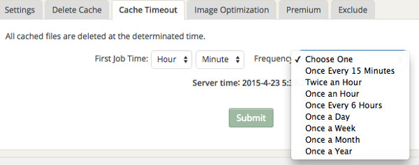 Cache Timeout Settings