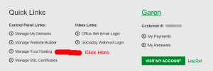 GoDaddy Manage Hosting