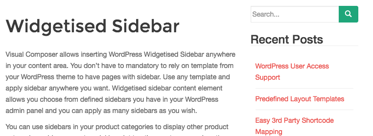 Widgetised Sidebar