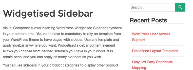 Widgetised Sidebar
