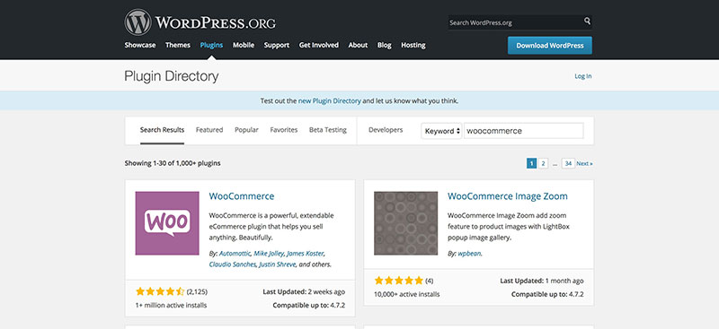 WooCommerce at WordPress.org